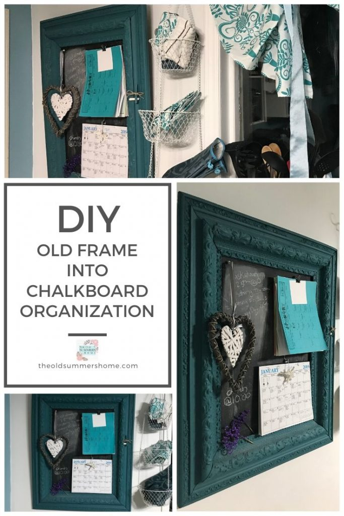 A simple DIY Command Center Idea for your kitchen repurposed from an old frame with beautiful farmhouse style! Get youur family organized with this easy DIY Chalkboard Organizer!