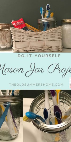 Our DIY Mason Jar Toothbrush Holder is a simple project that will take a few minutes to complete. We also have included a few of our favourite ways to accent your jars with farmhouse charm!