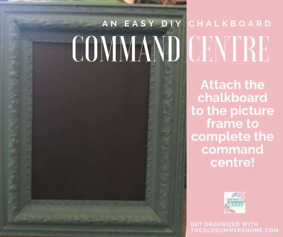 Attach the chalkboard to the newly updated picture frame to complete the Command Centre!