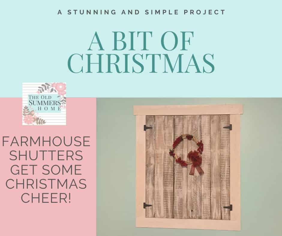 Our Farmhouse shutters get a bit of Christmas Cheer with a simple yet elegant  handmade wreath!