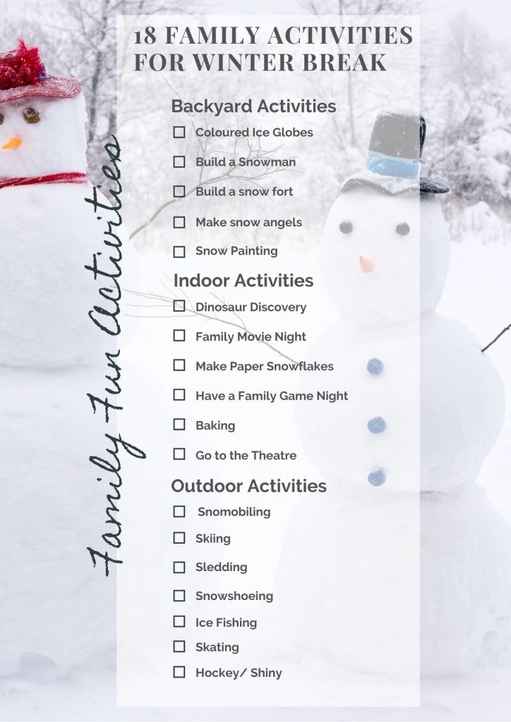 An ultimate list of family activities for winter break ! Grab your free printable and start having some family fun! See our post to learn more!