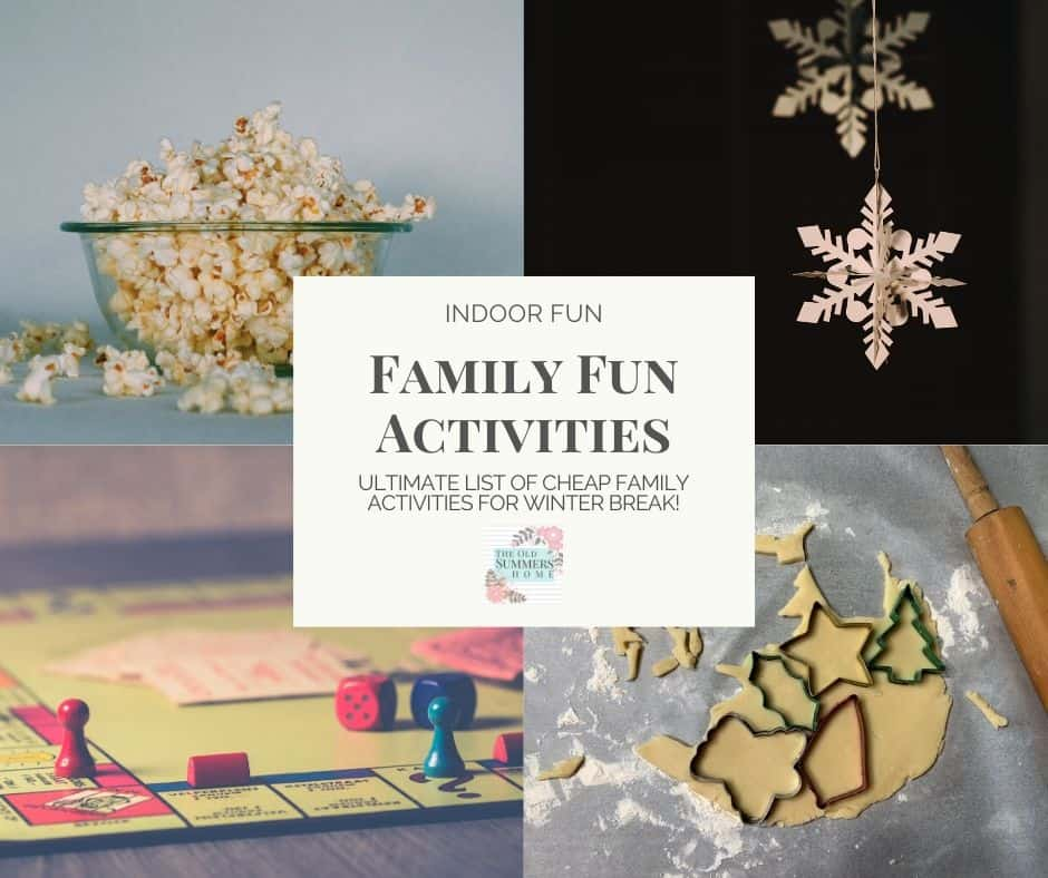 Family Fun Activities you can do in the comfort of your own home! These frugal if not free ideas will keep your family entertained on during the cold days of winter break!