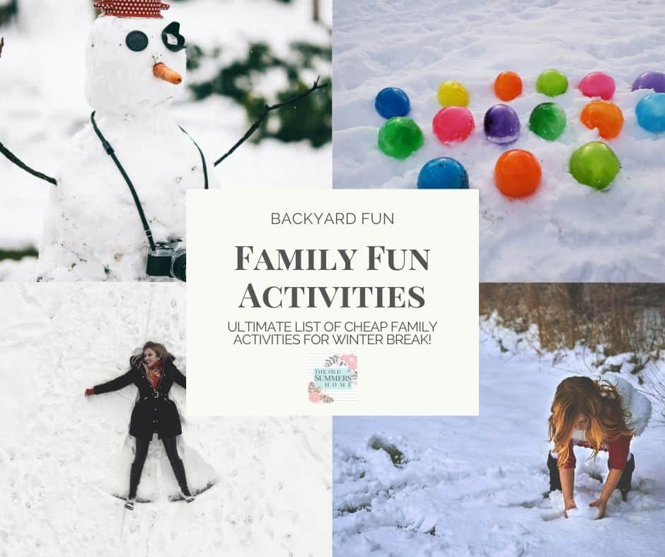 Family Fun Activities you can do in your backyard! These frugal if not free ideas will keep your family active and having fun during winter break!