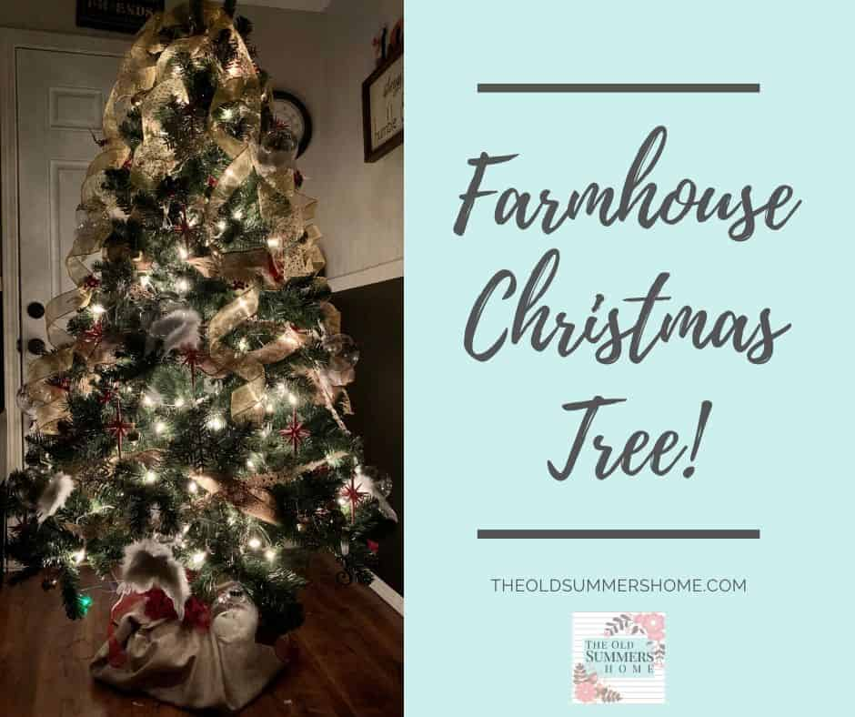 Our farmhouse Christmas tree is full of burlap and handmade Christmas ornamnes made form our tutorials right here on The Old Summers Home