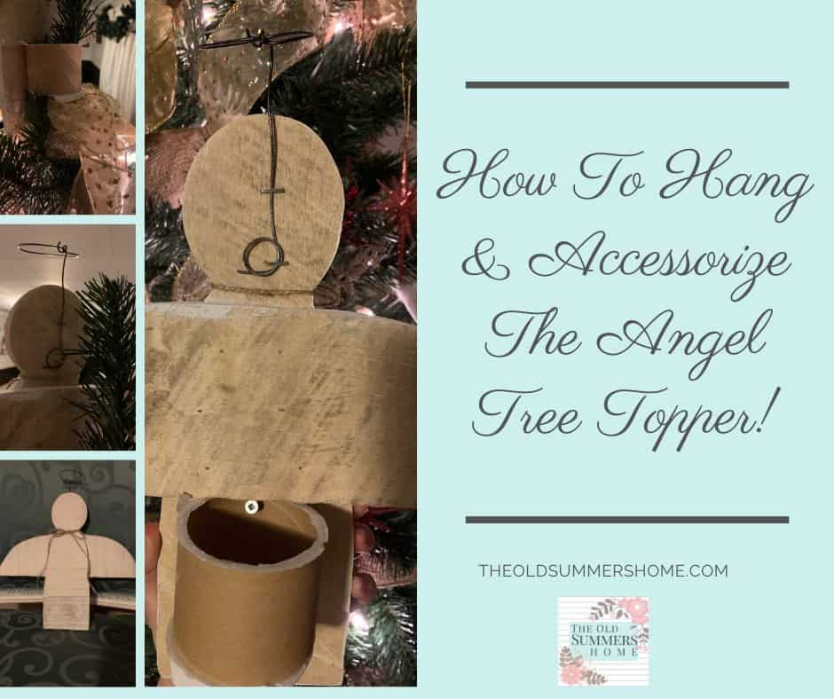 Add accessories and utilize a ribbon cardboard middle to hang your angel tree topper!