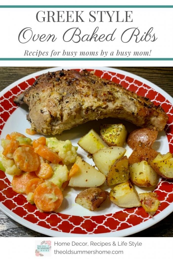 Our Greek Style Oven Rib Recipe makes weeknight meals a snap. Oven-ready in minutes so you can get back to the things you need to do while it bakes in an hour or less! Perfect ribs at your fingertips! Recipes fro busy moms by a busy mom.