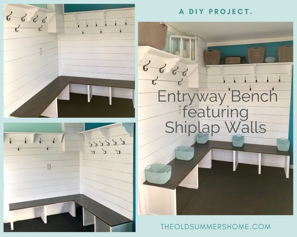 Mudroom Entryway Bench Featuring Shiplap walls in our porch. One of our top 10 blog posts.