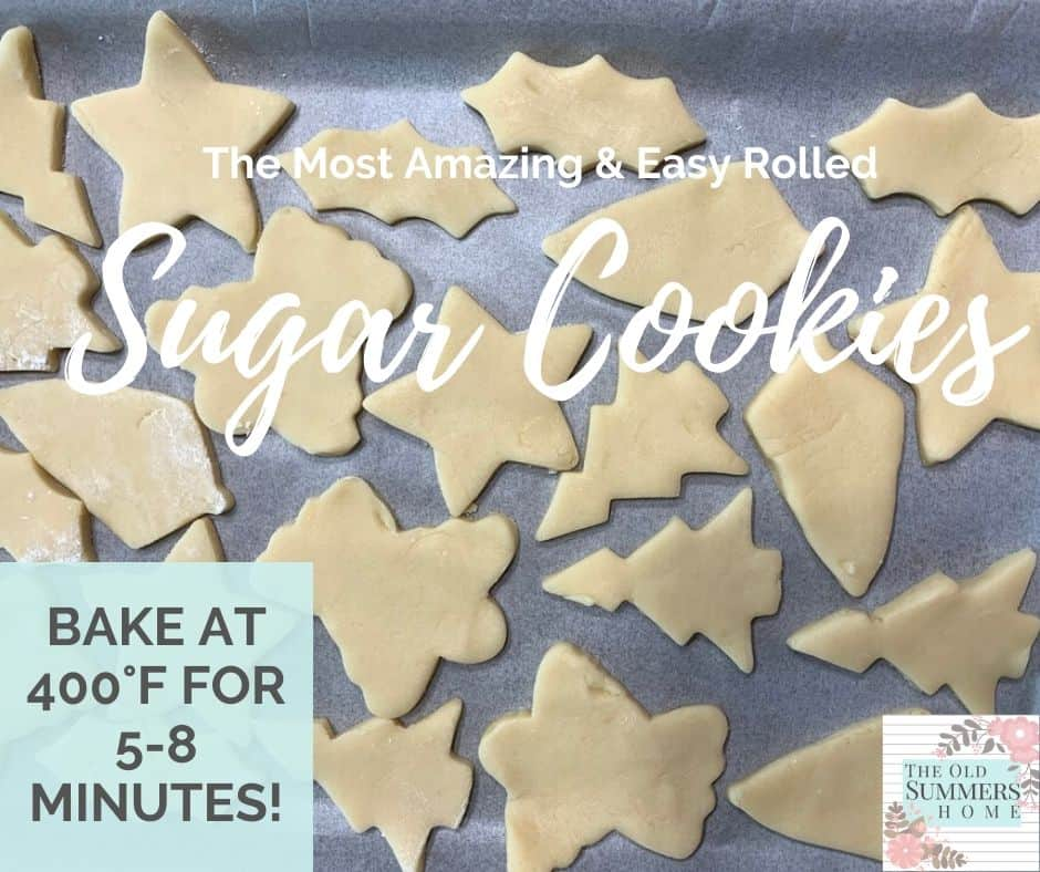 Bake the sugar cookies at 400°F for 5 minutes remove immediately from cookie sheet and allow to cool!