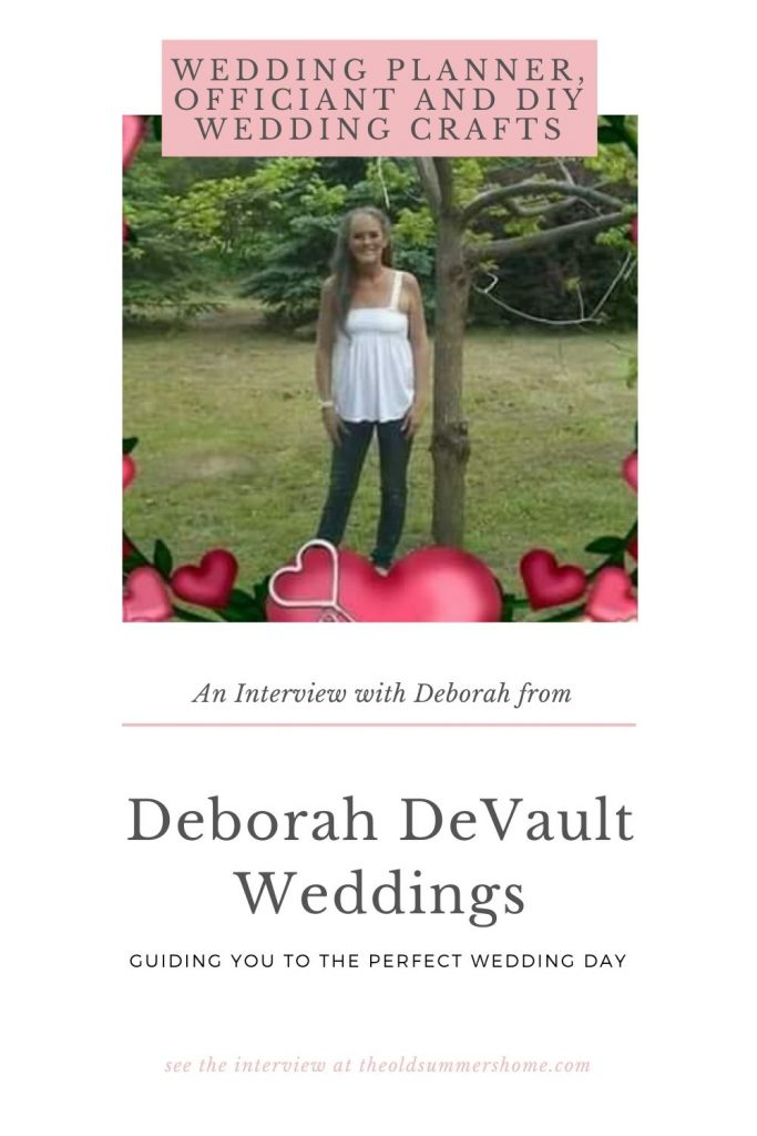 An Interview with Deborah from Deborah DeVault Weddings. Deborah DeVault Weddings is your one stop shop for a wedding planner officiant and learning to make DIY wedding decorations!