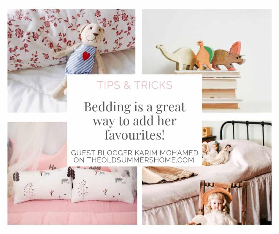 Using bedding to a girls favourites is the perfect way to incorporate into her room. Bedding will be switched out throughout the years so this is a perfect opportunity to let her choose!