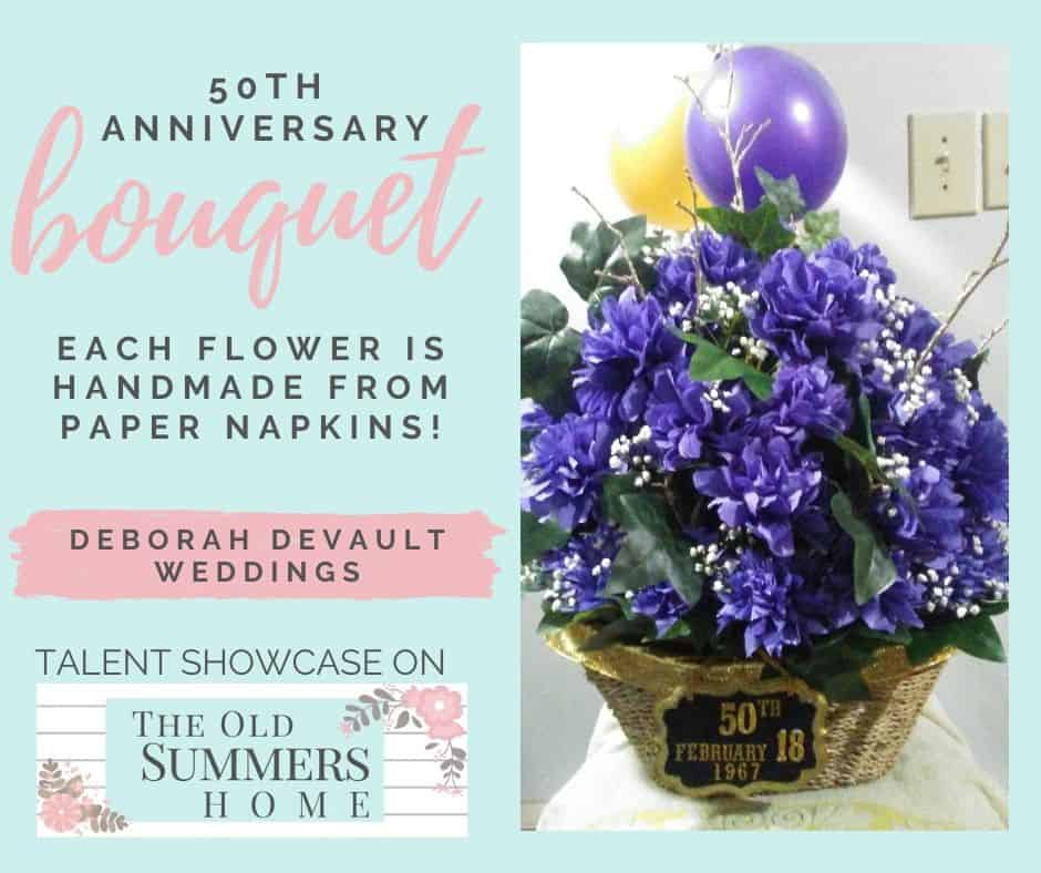 This 50th Anniversary Bouquet is handmade from paper napkins designed by Deborah from Deborah DeVault Weddings for her parents 50th wedding anniversary.
