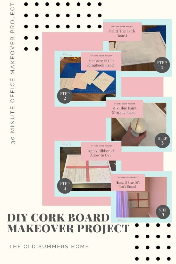 5 step DIY Cork Board Project an Easy Office Makeover Project. Cheap and simple 30 minute projects.