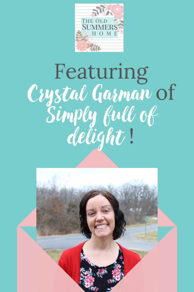 The Old Summers Home Talent Showcase featuring Crystal Garman, of Simply Full Of Delight and Baby Delight on Etsy. Crystal is full of talent and makes the most beautiful baby items. As a work at home mom she balances her home life among her business and family. She is absolutely inspiring!