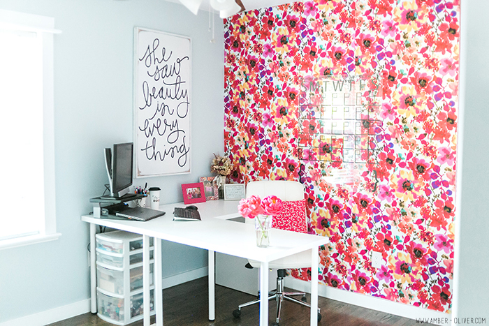 Office Decorating Ideas on a Budget 5 Ambo Office22 The Old Summers Home Make your workspace more enjoyable with these office decorating ideas on a budget. You'll be more productive with a pleasant work atmosphere!