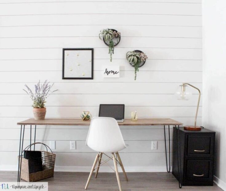 Office Decorating Ideas on a Budget 4 DIY Hairpin Leg Table 8 e1550680463948 The Old Summers Home Make your workspace more enjoyable with these office decorating ideas on a budget. You'll be more productive with a pleasant work atmosphere!