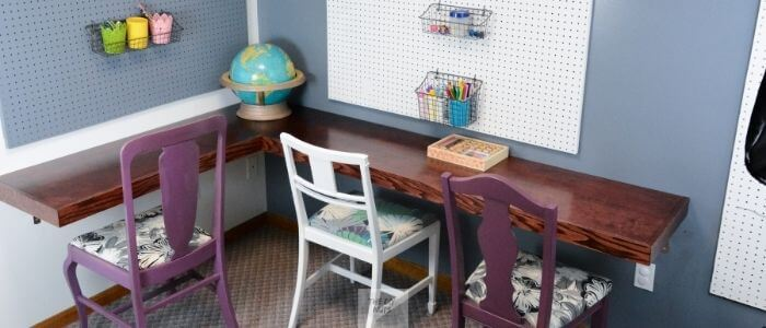 Office Decorating Ideas on a Budget 8 DIY corner desk idea The Old Summers Home Make your workspace more enjoyable with these office decorating ideas on a budget. You'll be more productive with a pleasant work atmosphere!