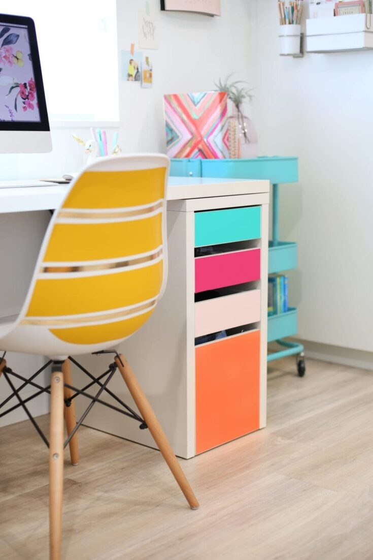 Office Decorating Ideas on a Budget 9 diy no paint colorful drawers5 scaled 1 The Old Summers Home Make your workspace more enjoyable with these office decorating ideas on a budget. You'll be more productive with a pleasant work atmosphere!