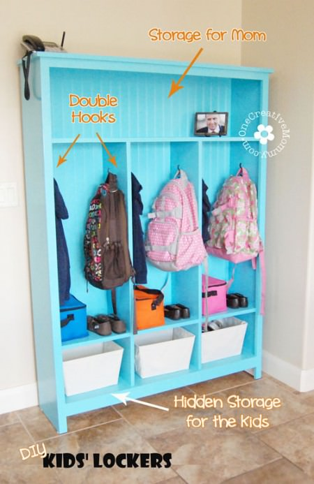 Clever Shoe Organization Ideas 8 DIY Storage Lockers Kids 2 450x693 1 The Old Summers Home Get organized with this list of suggestions, products and DIY projects to help you organize shoes all over your house.