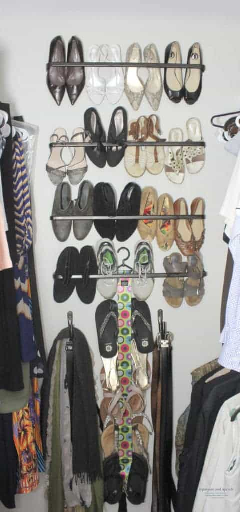 Clever Shoe Organization Ideas 1 Small Closet Organization Ideas with Curtain Rods 3 1 480x1024 1 The Old Summers Home Get organized with this list of suggestions, products and DIY projects to help you organize shoes all over your house.