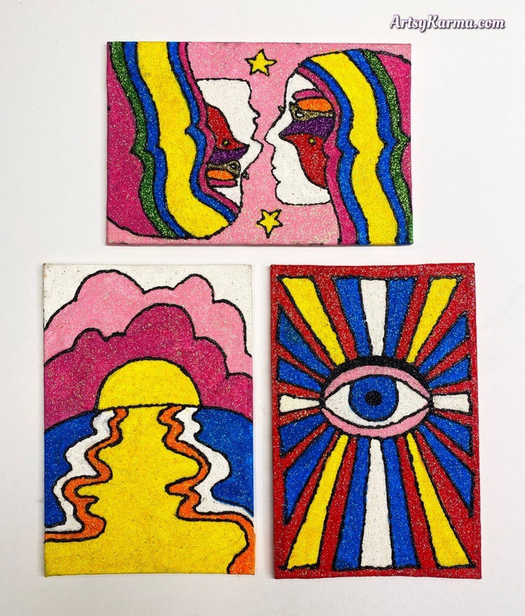 psychedelic glitter paintings